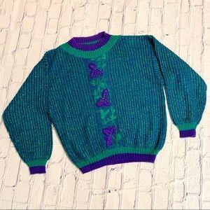 Vintage Floral Purple Glitter Crewneck Sweater